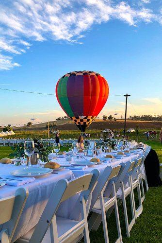 unique wedding reception ideas amazing outdoor wedding with hot air balloon