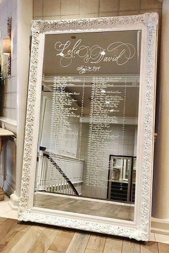 unique wedding reception ideas mirror seating chart