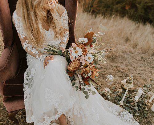 modern wedding rustic style wedding bride with bouquet