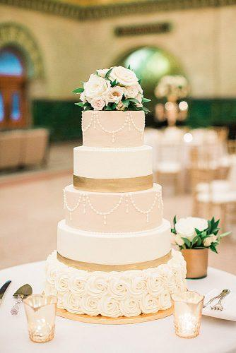 chic wedding cakes delicate tall creamy golden cake decorated with roses erin stubblefield weddings