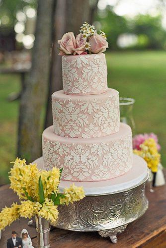 chic wedding cakes three tiered pink cake with vintage pattern and roses loulou and me
