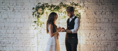 home wedding chic boho wedding at home newlyweds featured
