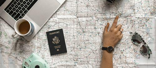 honeymoon packing list map points coffee notebook and passport