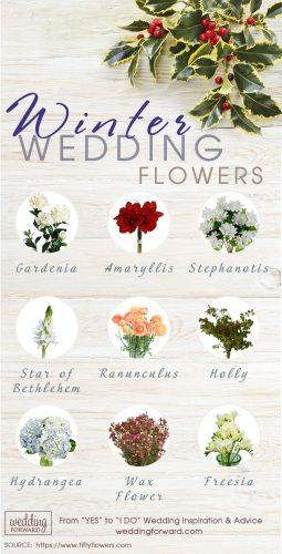 winter wedding flowers for your bouquets reception