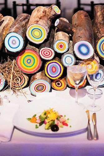 how to make wedding centerpieces colored logs wedding table decor