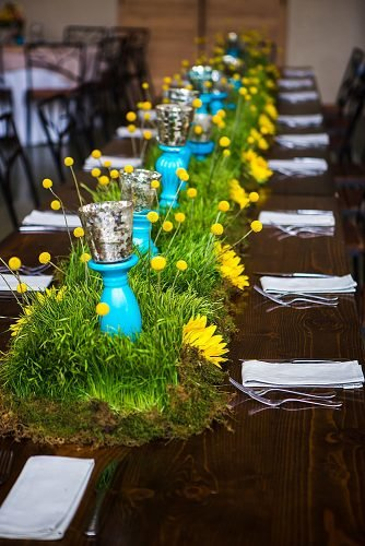 how to make wedding centerpieces grass table runner