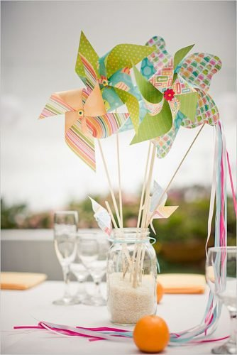 how to make wedding centerpieces paper pinwheels table decor