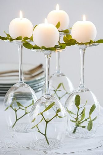 how to make wedding centerpieces wine glasses upside down with flowers and candles