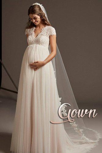 pregnant bride wedding gown