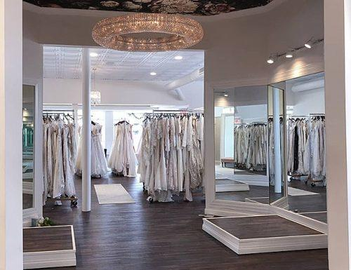 wedding dress shopping beautiful showroom with wedding dresses
