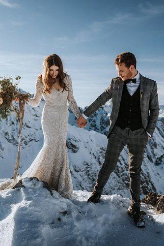 winter wedding bride and groom outfit