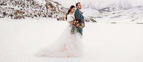 winter wedding newlyweds at the nature snow