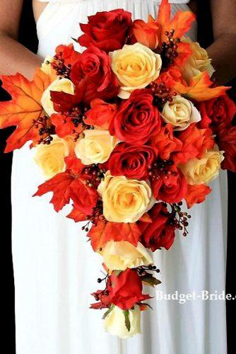 cascading wedding fall bouquet with orange full roses