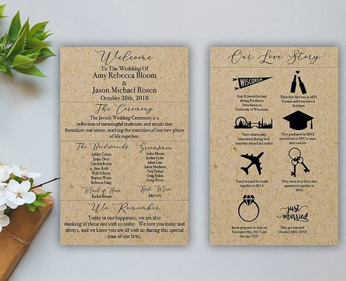 personalize wedding wedding program with love story