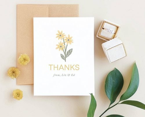 personalize wedding wedding thank you card with rings
