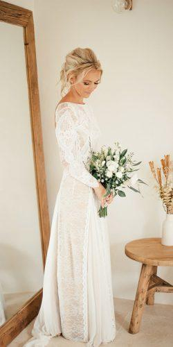 winter long sleeves open back lace wedding dresses grace loves lace