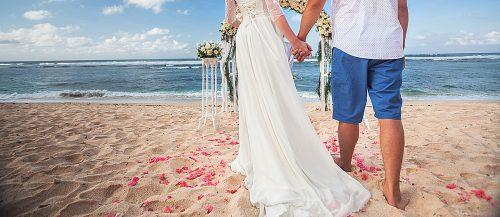 beach wedding bride and groom beautiful view featured