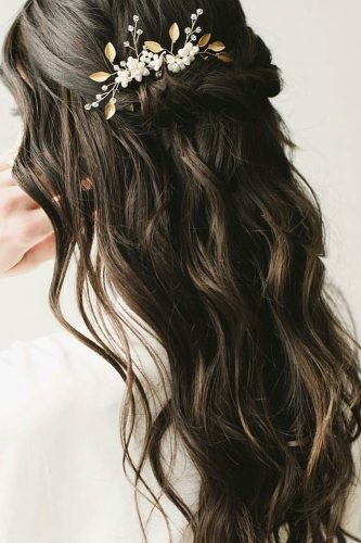hottest bridesmaids hairstyles ideas dark hair down topknotbrides
