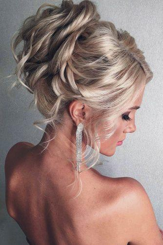 hottest bridesmaids hairstyles ideas elegant curly high updo with curls on blonde hair olesya_nefyodkina