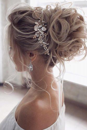 hottest bridesmaids hairstyles ideas elegant curly high updo with glamorous accessorie tonyastylist