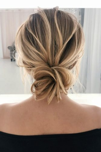 hottest bridesmaids hairstyles ideas elegant textured low bun on medium blonde hair elstilespb
