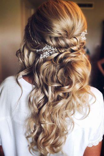 hottest bridesmaids hairstyles ideas half up half down swept with silver accesory ashandcobridalhair