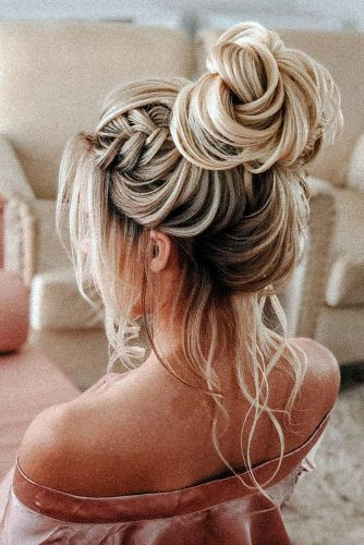 hottest bridesmaids hairstyles ideas high bun with loose curls and braid on medium blonde hair pritodavaidosa