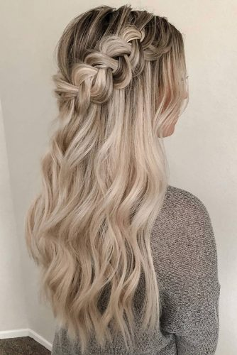 hottest bridesmaids hairstyles ideas long blonde hair half up with braided crown heidimariegarrett