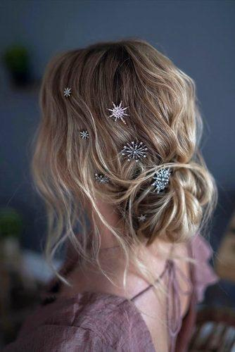 hottest bridesmaids hairstyles ideas low messy bun with trendy stars pin tanyaborisovacom
