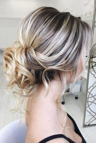 hottest bridesmaids hairstyles ideas messy low updo with loose curls elstilespb