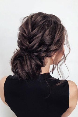hottest bridesmaids hairstyles ideas swept textured low bun on dark hair kseniya_fed