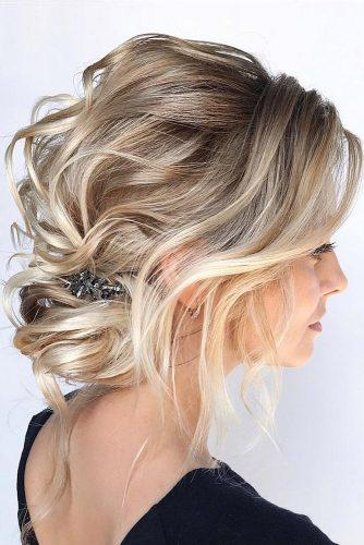 hottest bridesmaids hairstyles low curly updo on short blonde hair hair_vera