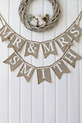 wedding signs mr mrs burlap sign