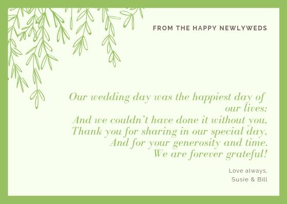 Thank You Message Wedding Gift: Wedding Thank You Cards Wording [2019 Guide]