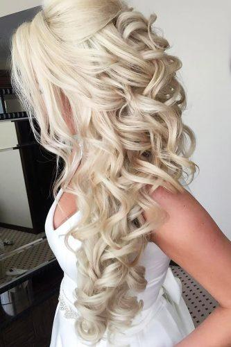 half up half down wedding hairstyles curly side hair elstile