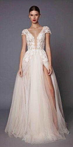 tulle lace v neckline blush wedding dresses with high slit berta