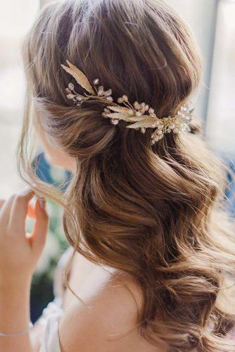 wedding hairstyles with stunning-accessories half up half down