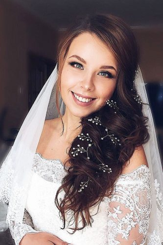 wedding hairstyles with veil long braided hair provans studio