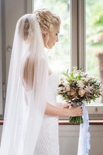 wedding hairstyles with veil updo blond hair floral style