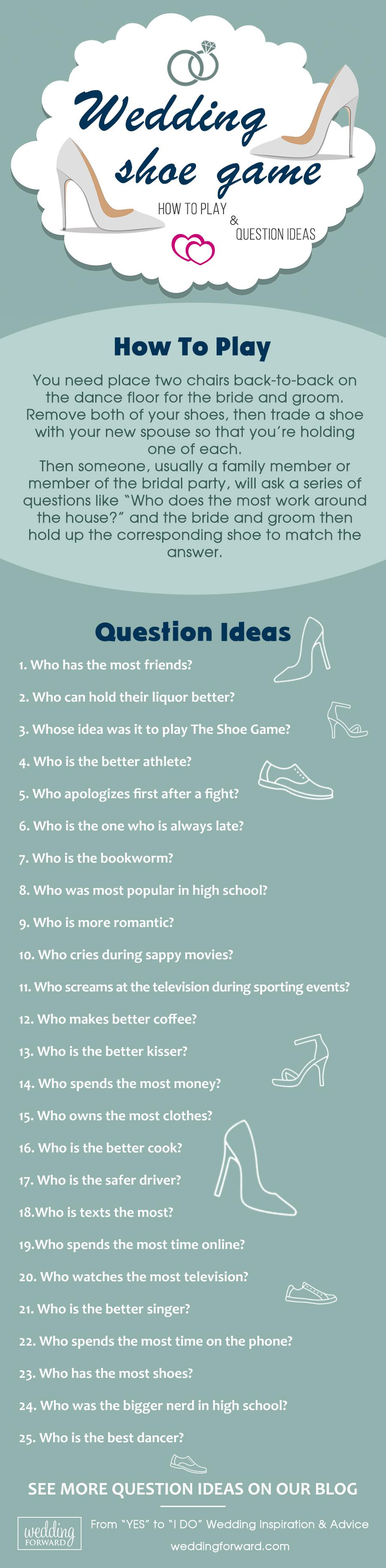 wedding shoe game how to play question ideas