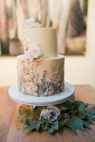 rustic wedding cakes blush with flower painted anthea auld photographer