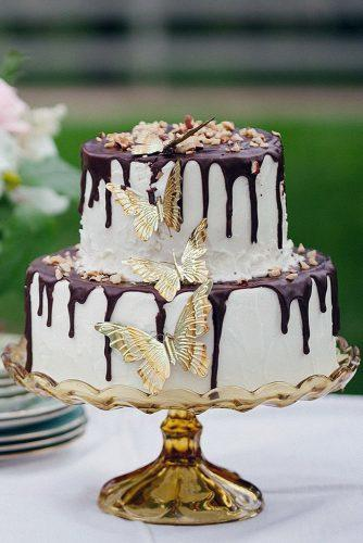 rustic wedding cakes chocolate drip white cream gold butterfly frenzel studios