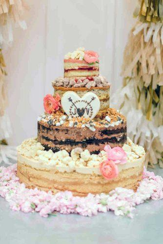 rustic wedding cakes naked cake with heart and flowers milkbarstore via instagram