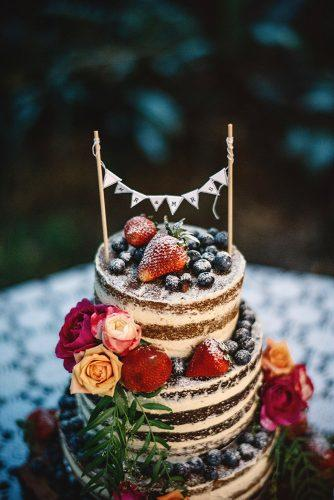rustic wedding cakes naked chocolate with strawberry and roses gabe mcclintock photography