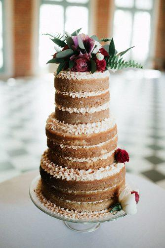 rustic wedding cakes naked with cream decorared with red roses bekah wriedt