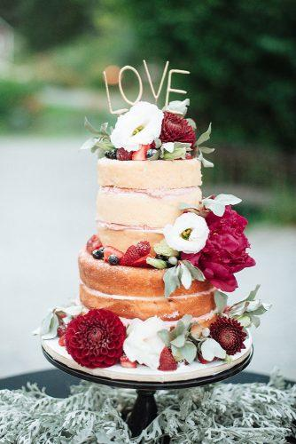 rustic wedding cakes naked with red and white flowers rose photography