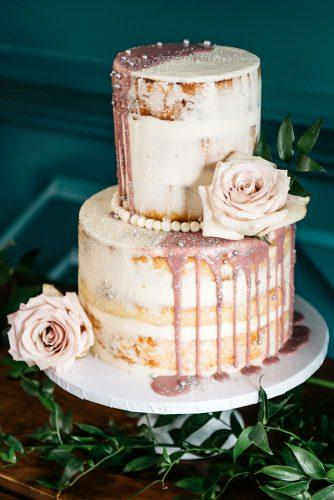 rustic wedding cakes pink flower drip on naked bridal dessert cara robbins studio