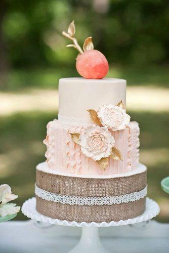 rustic wedding cakes romantic pink with burlap flowers and apple on top brc photography
