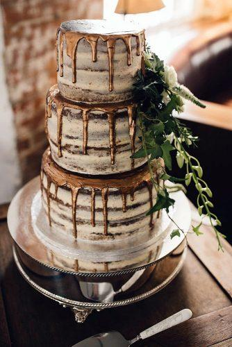 rustic wedding cakes simple naked with bronze drip and greenery sam docker via instagram
