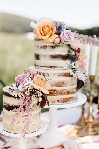 rustic wedding cakes small naked with wildflowers and roses shae estella photo via instagram